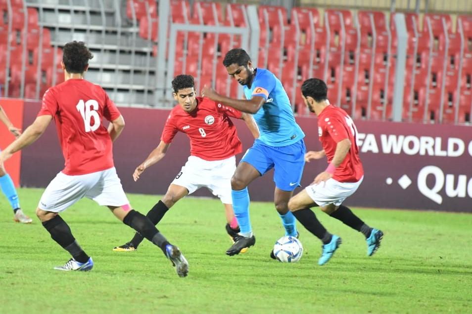 Hariss Harun in action against Yemen on 19 Nov 2019 Photo courtesy of Bahrain FA